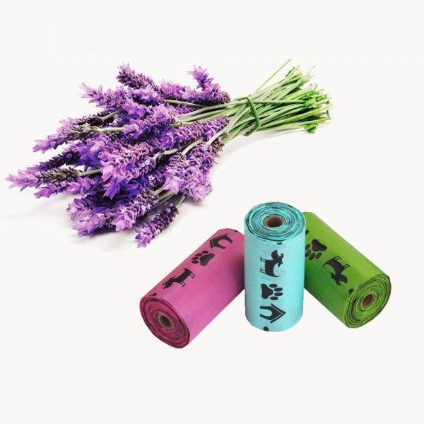 Bolsas biodegradables caca de perro 18/48 rollos con perfume de lavanda 6