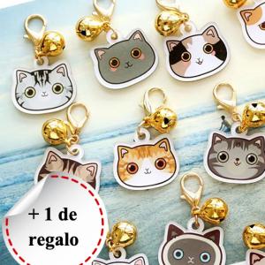 Placa identificativa para gato con nombre y dibujo personalizado + 1 de regalo