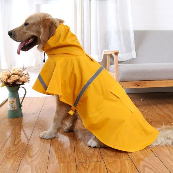Chubasquero para perro con capucha y cinta reflectante 1